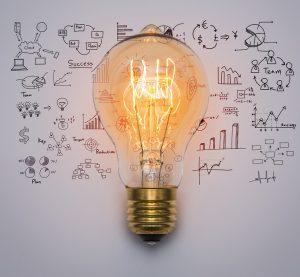 Tworzenie biznes planów, żarówka pomysłów biznesowych oraz różne wykresy w tle